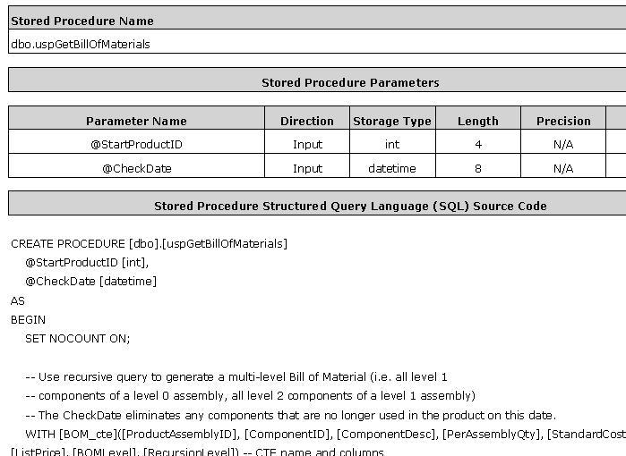 Advanced SQL Server Documentation Generator sample RTF output